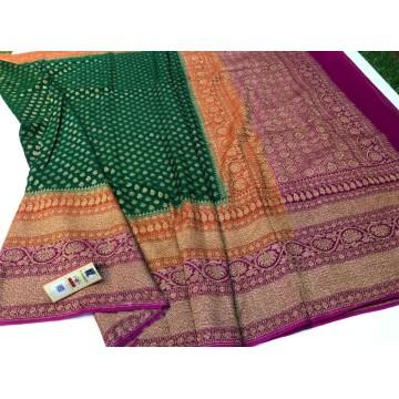 Green Banarasi georgette saree with antique gold zari