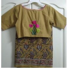 Hand block printed silk Kalamkari saree and cotton hand embroidered designer blouse