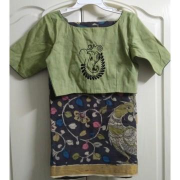 Kerala cotton pen Kalamkari saree and cotton hand embroidered designer blouse