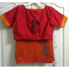 Bengal handloom silk-cotton saree and cotton hand embroidered designer blouse
