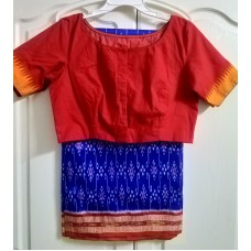 Sambhalpuri silk saree and cotton hand embroidered designer blouse