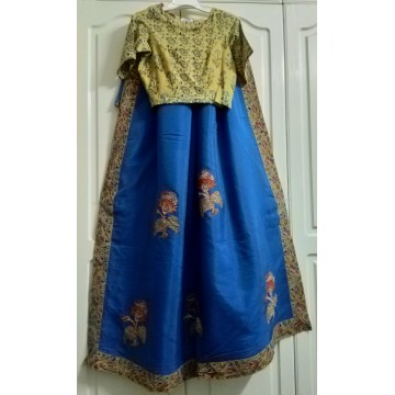 Kalamkari applique silk saree and cotton Ajrakh designer blouse