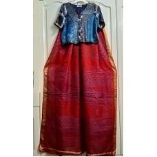 Bandhani silk saree and Ajrakh silk crop top