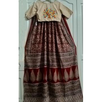 Hand block printed cotton Kalamkari saree and cotton hand embroidered designer blouse