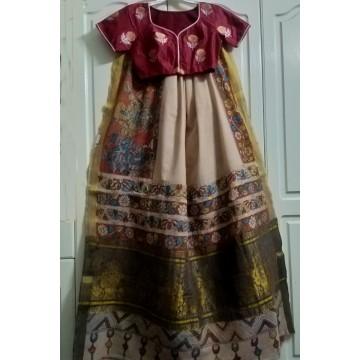 Kerala cotton pen Kalamkari saree and silk designer blouse