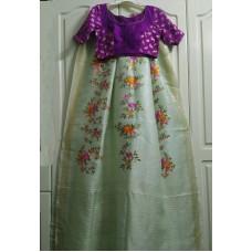 Embroidered linen-silk saree and silk designer blouse