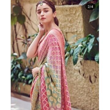 Pale green and pink Banarasi Bandhani georgette-chiffon saree