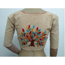 Beige hand embroidered designer blouse (size 36, margin to increase to 40)