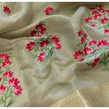 Beige tissue linen saree with floral embroidery