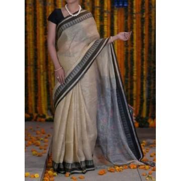 Beige linen saree with black temple border