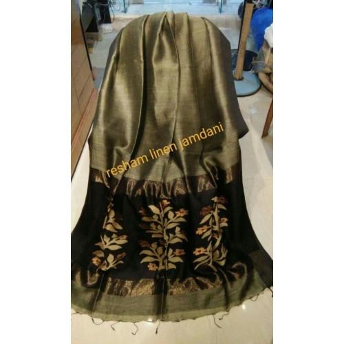 Beige linen-silk saree with jamdani pallu