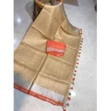 Beige linen saree with orange trim