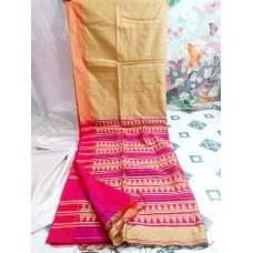 Beige and pink Bihu silk-cotton saree