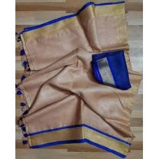 Beige linen saree with royal blue trim