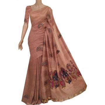Beige semi-Tussar saree with hand painted Kalamkari applique