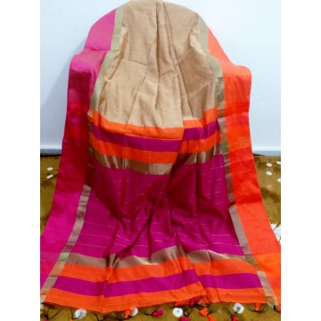 Beige silk-cotton saree with Ganga-Jamuna border