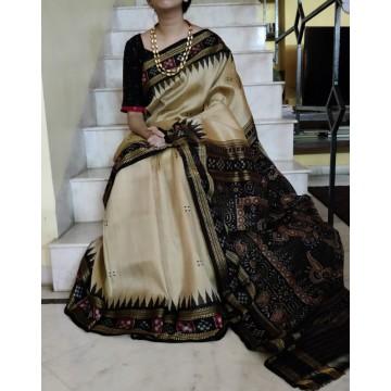 Beige Sambhalpuri silk saree with Ikat border