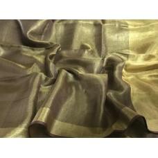 Beige tissue linen saree with gold border