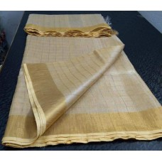 Beige tissue linen saree with small zari checks