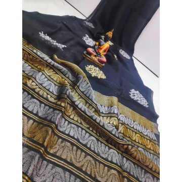 Black linen saree with Banarasi woven motifs