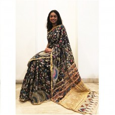 Black Kerala cotton saree with pen Kalamkari