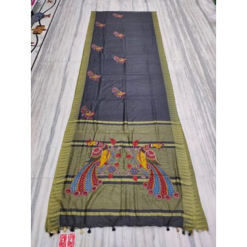 Black silk-cotton saree with hand-painted Kalamkari applique - 1
