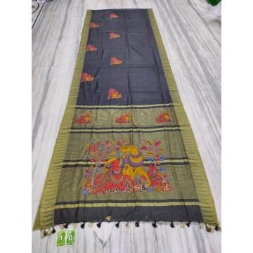 Black silk-cotton saree with hand-painted Kalamkari applique - 2