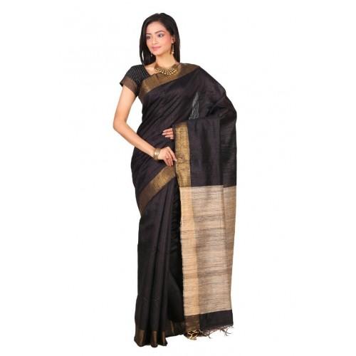 Black Tussar silk saree with beige Ghicha pallu