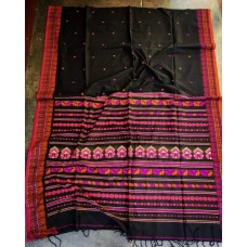 Black Dongria weave mercerized cotton saree