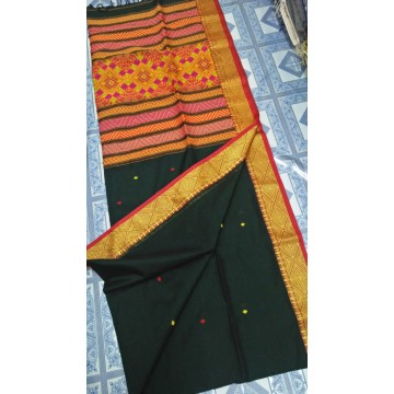 Bottle green Dongria weave mercerized cotton saree