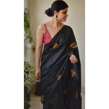 Black embroidered Tussar silk saree