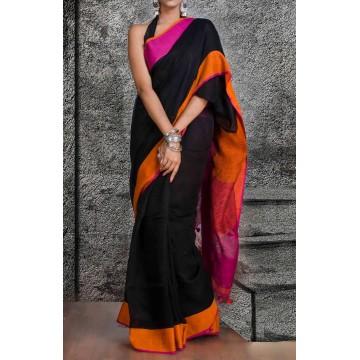 Black linen saree with Ganga-Jamuna border