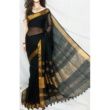 Black linen saree with gold border
