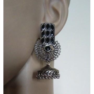 Silver tone jhumkas with black stone