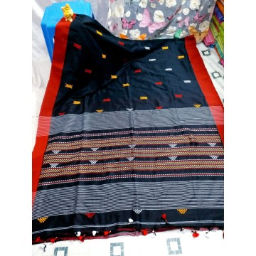 Black tribal weaving Khadi cotton saree
