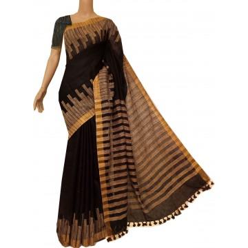 Black linen saree with ghicha detailing