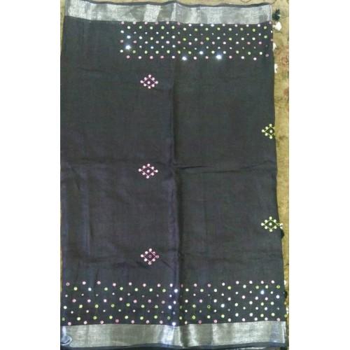 Black linen mirrorwork saree