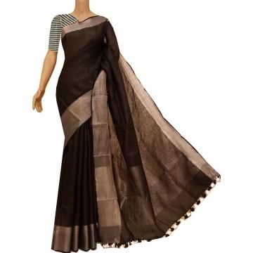 Black linen saree with antique silver border