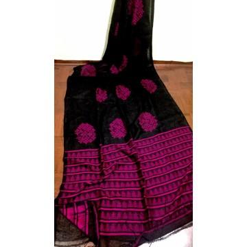 Black and magenta linen saree with Banarasi woven motifs