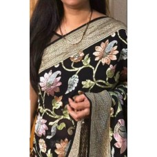 Black floral Banarasi georgette-chiffon saree