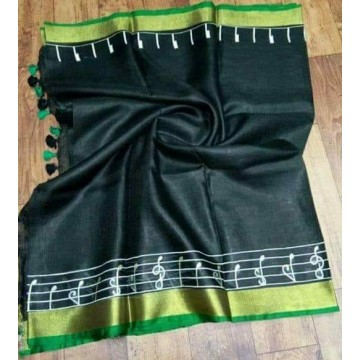 Black linen saree with musical notes embroidery