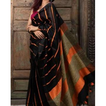 Black linen saree with orange lines