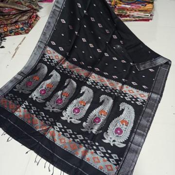 Black organic linen saree with intricate weaving