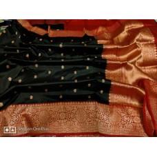 Black and red Banarasi Katan silk saree