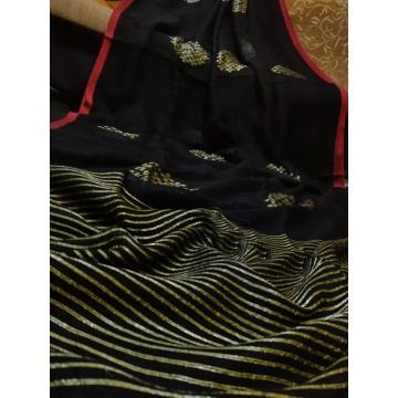 Black linen saree with Banarasi woven motifs and red trim