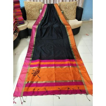 Black silk-cotton saree with Ganga-Jamuna border