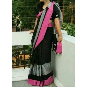 Black linen saree with silver and magenta border