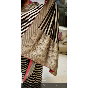 Black stripes Banarasi georgette-chiffon saree