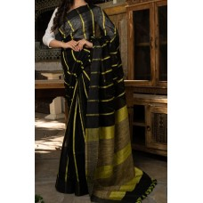 Black linen saree with yellow lines