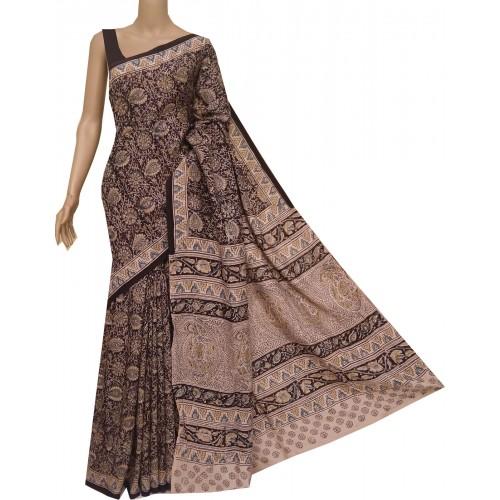 Black and yellow silk Kalamkari saree with hand block print